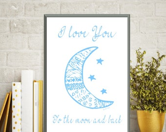Love you moon and back poster, Baby illustration, Poster quote baby, Nursery print, Children poster, Kids room decor, Baby gift, Quote baby