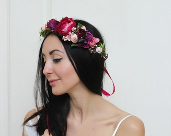 Hot pink floral crown  Boho  crown Flower halo Bridal floral crown Wedding flower crown  Floral head wreath Girl flower crown Hair wreath