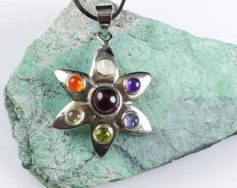 7 Chakra Necklace - Sterling Silver Necklace with 7 Chakra Pendant - Flower Necklace Chakra Jewelry J903