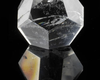Dodecahedron CLEAR QUARTZ Crystal From Brazil - 1.5 or 2 inch - Quartz Carving, Sacred Geometry, Healing Crystal, Meditation Crystal E0118