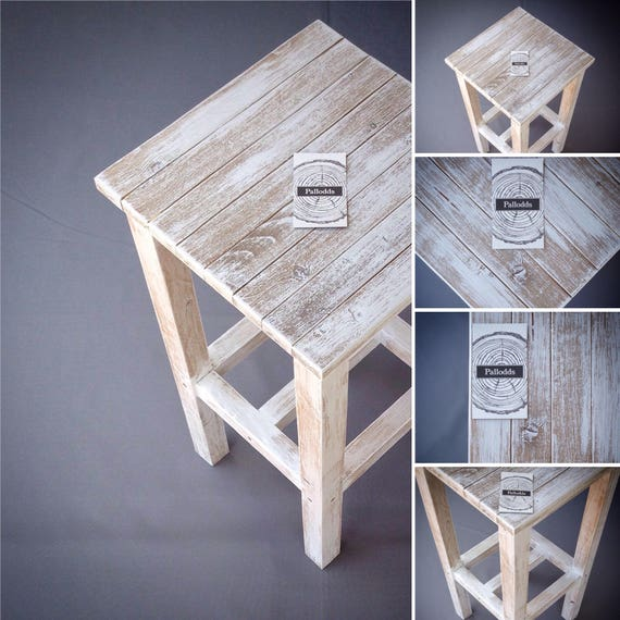 End Table / Nightstand Wood White Washed End Table Rustic