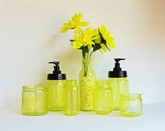 Yellow Bathroom Set, Mason Jar Bathroom Set, Glass Bathroom Set, Bathroom Organizer, Yellow Soap Pump, Yellow Bath Set, Mason Jar Bath
