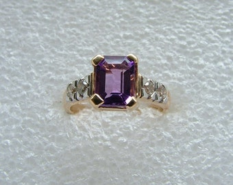 Diamond and Amethyst 9 carat yellow gold ring. Amethyst ring with diamonds.