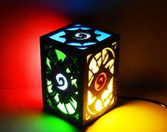 Ambient light of Hearthstone. Decoration lamp, home decor, illumination, wood. Game, videogame, geek, nerd, gamer. World of Warcraft, WoW.