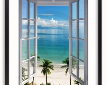 Beach Window View Poster