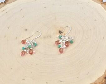 Czech bead cluster earrings