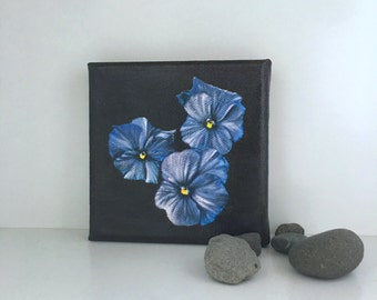 Violets flowers - Blue flowers - Acrylic painting- original painting -  wall art - still life - miniature - flora - fine art - gift idea