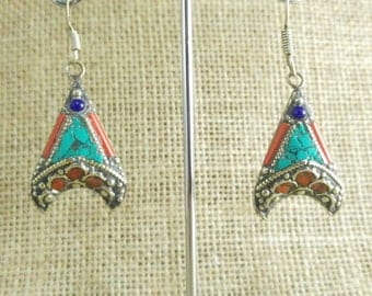 Ethnic Tibetan earrings arrow tribal Nepal
