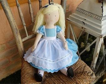 Alice In Wonderland, Alice, Wonderland, Alice In Wonderland Handmade Doll, Alice In Wonderland Fabric Doll, Alice Doll, Alice Fabric Doll