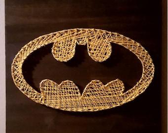 Yellow and black Batman string art-the dark Knight gift for teens-Batman gift for geek