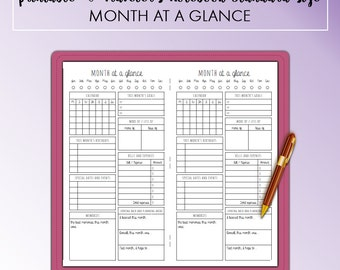 Traveler's Notebook Standard Month at a Glance Monthly Printable Insert