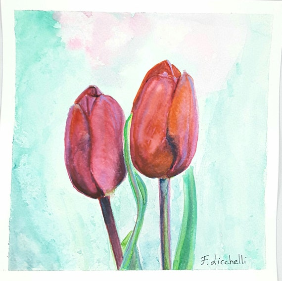 Red tulips, watercolor, original painting, home office decoration, traditional wall art, decore for bedroom or living, baby shower gift idea