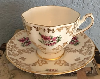 Beautiful Queen Anne Vintage English Fine Bone China Cup and Saucer Set, c. 1960