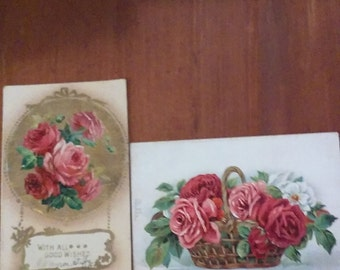 4 Antique Postcards &  1 Advertising Card