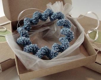 Statement Bracelet - Seed Bead Bracelet - Crochet bead bracelet - Denim blue beads - Bead crochet Bracelet -  Beaded bangle - Gift for her