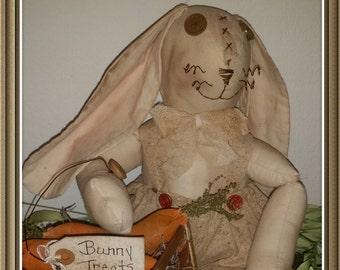 primitive bunny rabbit rag doll, OFG, FAAP, Easter decor, spring decor rabbit doll, country bunny rag doll, OOAK, farmhouse bunny, rustic