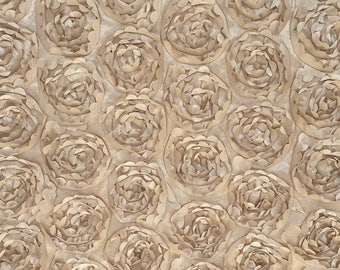 Champagne Rosette Fabric, Champagne 3D Floral Satin Fabric, Peony Bouquet Fabric, Rosette Satin Fabric, Champagne Charmeuse Rosette Fabric