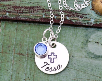 Baptism Gift Cross Necklace Baptism Jewelry • Girl Baptism Custom Cross Charm Sterling Silver • Girl Confirmation Gift Christian