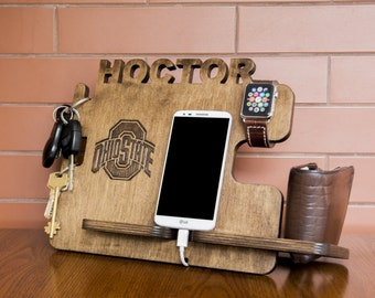 Personalized Ohio State docking station - iPhone charging stand, gift idea - Mens charging dock, Gift for Men