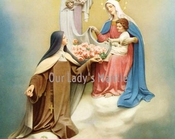 The Vision of St. Therese Picture Print 'Shower of Roses from Heaven'