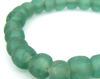 45 Recycled Glass Beads - African 14mm Bottle Green/Blue Transparent - Sea Glass