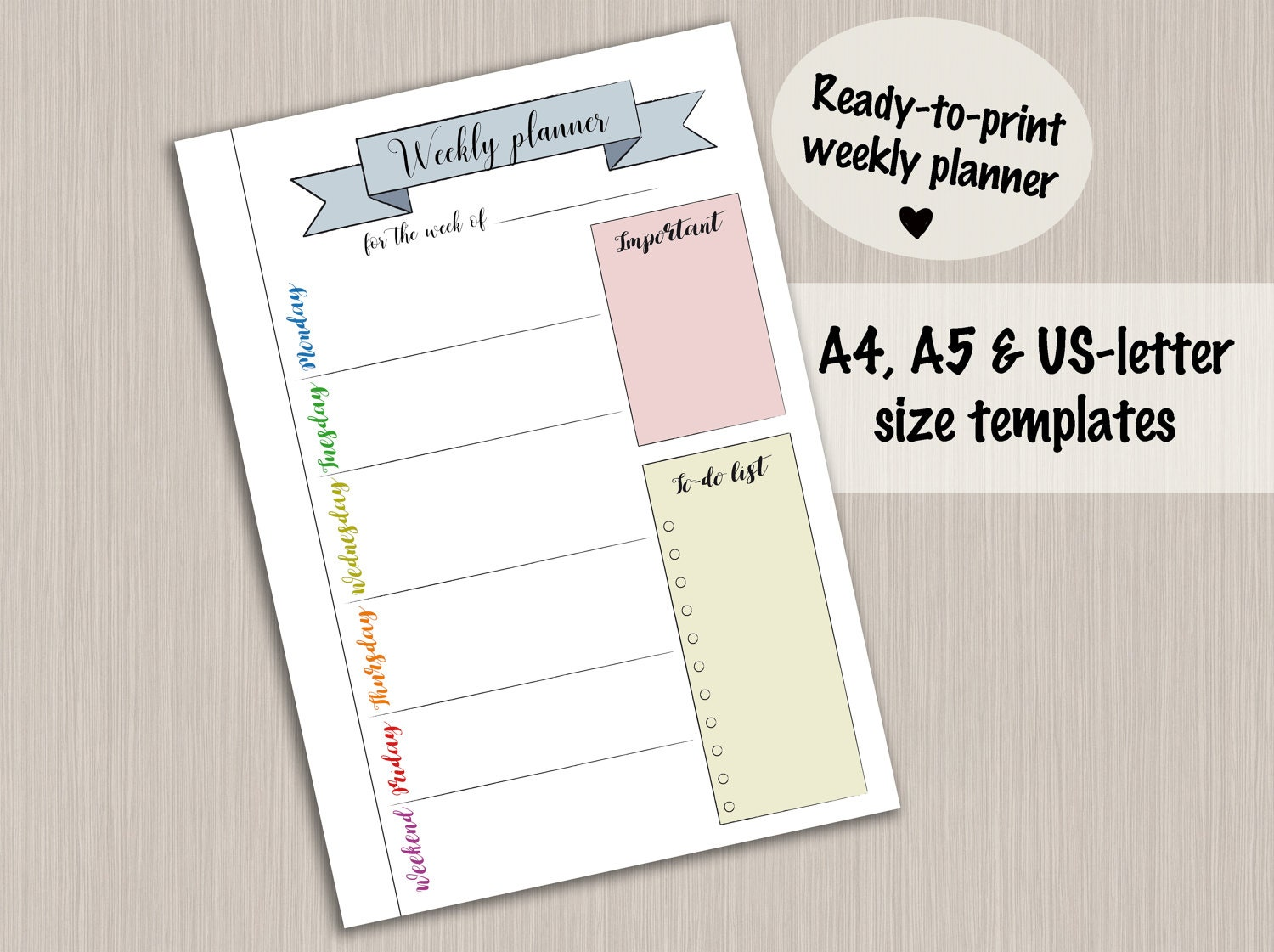 Bullet Journal Printable Weekly Planner Template For Bullet