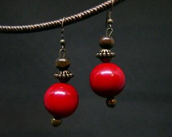 Red Pearl Bead Charm Drop I Dangle Bronze Beaded Earrings Handmade Jewelry Brass Wire I Hook