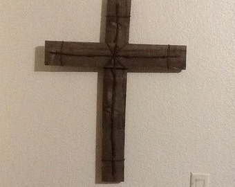 Wooden barb wire cross