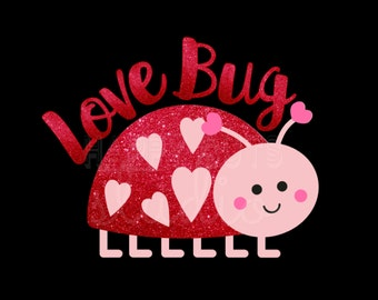 Love Bug Valentine's Day Glitter Vinyl Iron On Valentine's Day Iron On Decal Vinyl for Shirt 142