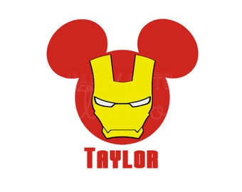 Personalized Iron Man Mickey Mouse with Shield and Star Classic Super Hero Matching Family Iron On Decal Vinyl for Shirt 066