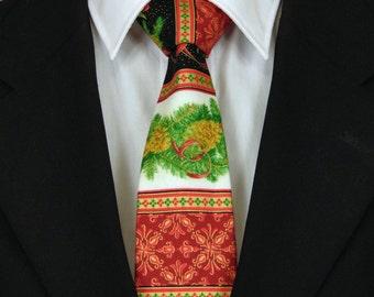 Christmas Necktie, Christmas Tie, Mens Necktie, Mens Tie, Floral Necktie, Floral Tie, Red Necktie, Red Tie, Black Necktie, Black Tie, Father