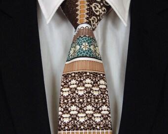 Mens Necktie, Mens Tie, Stripe Necktie, Stripe Tie, Floral Necktie, Floral Tie, Brown Necktie, Brown Tie, Father, Dad, Christmas, Wedding