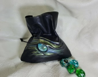 Small  Black Leather Dice Bag with a Aqua /Green Dragons Eye ,for up to 28 Dice.