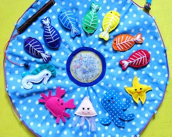 Magnetic Fishing Game, X-tray fish, Educational Sensory Toy, Travel toy, Felt fishing with fishing pole and a pond, Felt sea animals, Colors
