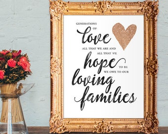 Wedding thank you sign - generations of love - all that we are and all that we hope to be - PRINTABLE 8x10 - 5x7