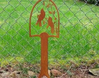 Hummingbird decorative rusted shovel