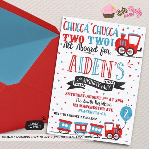 Chugga Chugga Choo choo Train Birthday Party invitations two – Choo Choo Train Birthday Invitations