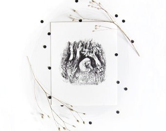 Ghost World - A5 inkjet print - black and white - forest