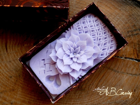 40%OFF Wedding soap gift, floral carving soap, carved soap, Wedding soap flower, purple floral soap, Wedding gift, anniversary gift for her