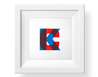 Kansas City Letterpress Art Print • KC • Kansas City print • Missouri • Kansas • Red & Blue • KCMO • Made in kansas city • Minimalist art