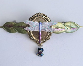Leaf Barrette with Dragonfly, French barrette dragonfly and crystal beads, Whimsical Barrette