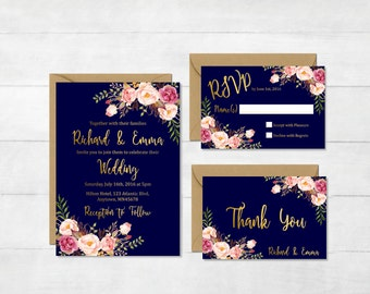 Navy and Gold Floral Printable Wedding Invitation Suite, Boho Wedding Invite, Floral Wedding Invite, Bohemian Wedding Invite Download 110-NG