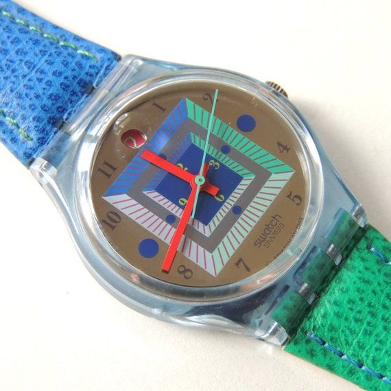 Swatch Watch Kangaroo GN402, watch with date, vintage watch, leather band watch, green and blue watch