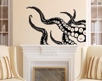 Octopus Wall Decal Tentacles Vinyl Sticker Decals Kraken Octopus Fish Deep  Sea Scuba Ocean Animal Bathroom