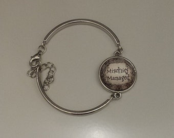 Dumbledore  mischief managed silver bracelet. Adjustable size