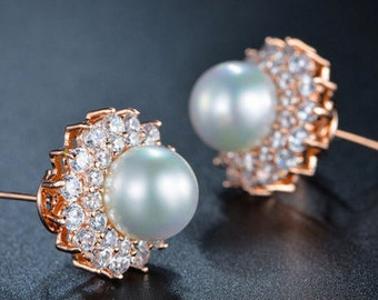 Rose Gold Plated Earrings Simulated Pearl