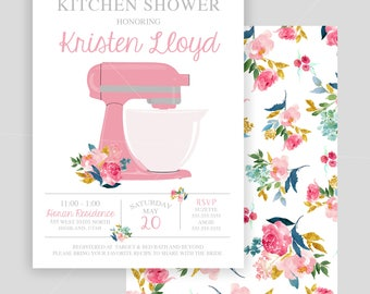 Double Sided Floral Kitchen Bridal Shower Invitation
