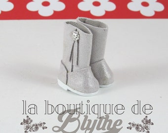 Silver Leather Boots for Blythe doll-boots silver in skin for Blythe