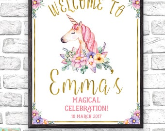 Unicorn Birthday Party Welcome Sign, Unicorn Poster, Unicorn Party Decorations, Large Welcome Sign, Gold Glitter Welcome Sign, Photo Props