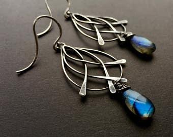 AAA Labradorite Earrings, Bohemian Silver Teardrop Earrings, Blue Flash Labradorite, Oxidized Earrings, Boho Gem Earrings, Elegant Earrings